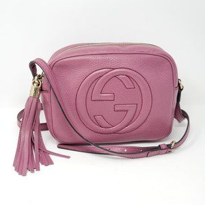 Auth Gucci Disco Camera Pink Leather Crossbody Bag